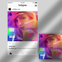 Friday Fun Party Free Instagram Banner Template