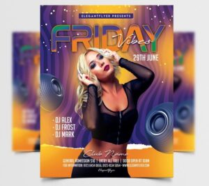 Friday Party Music Free Flyer Template (PSD)
