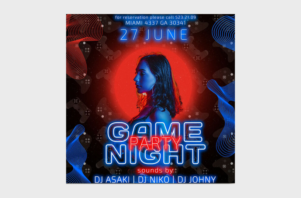 Game Night Party Free Instagram Banner Templates (PSD)
