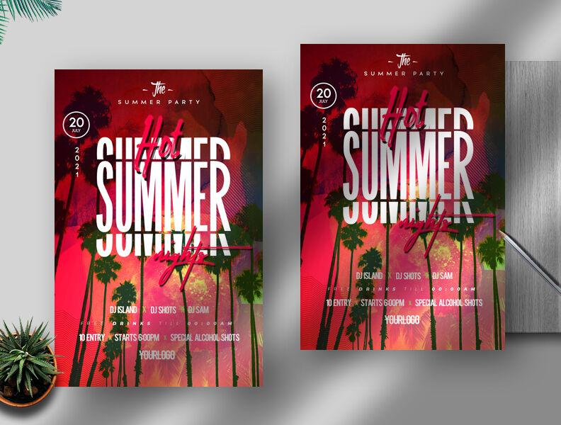 Hot Summer Nights Free Flyer Template (PSD)