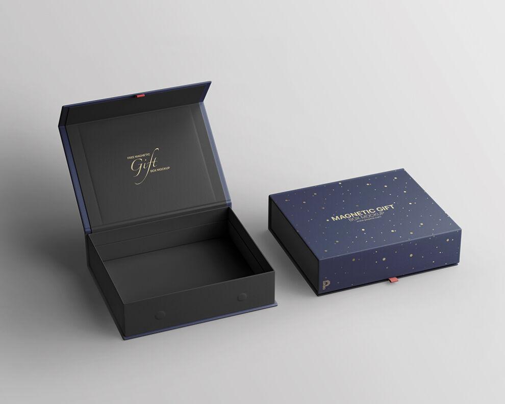 Magnetic Gift Box Free Mockup