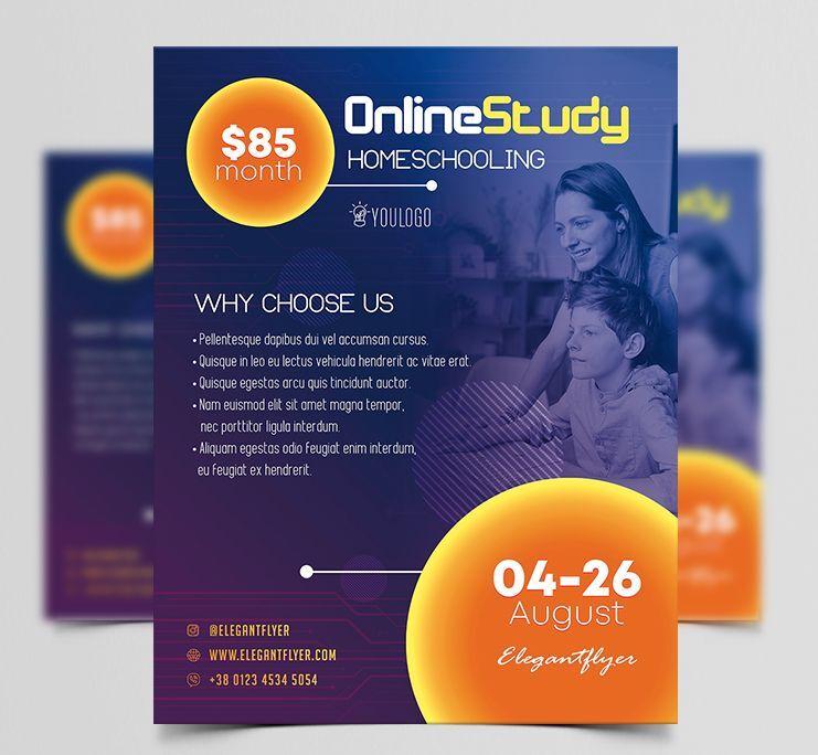 Online Study Homeschool Free Flyer Template (PSD)