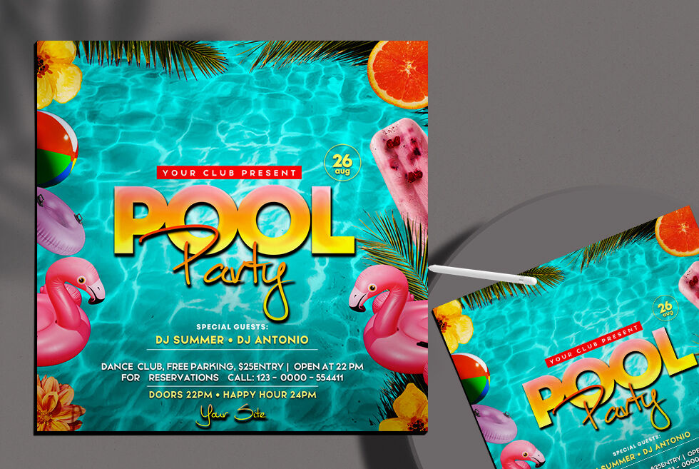 Pool Party Free Instagram Banner Template (PSD)