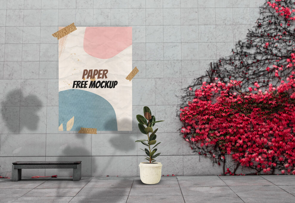 Poster Paper Taped on Wall Free Mockup