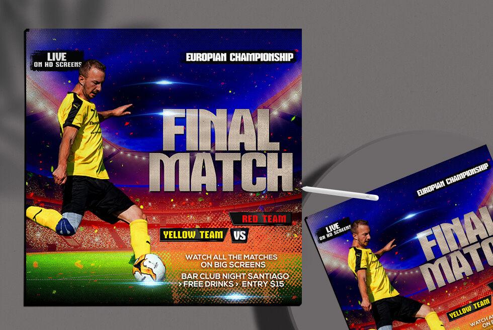 Soccer Final Match Free Instagram Banner Template (PSD)
