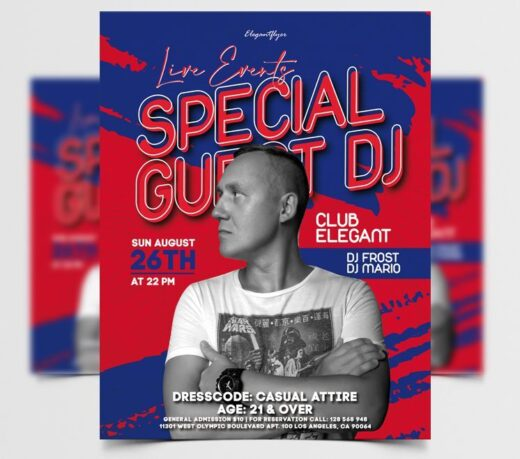 Special DJ Party Free Flyer Template (PSD)