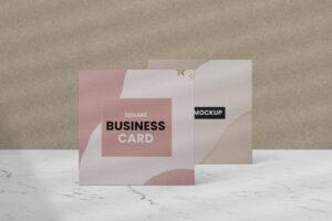 Square Business Card Scene Free Mockup
