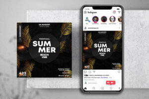 Summer Black & Gold Free Instagram Banner Template