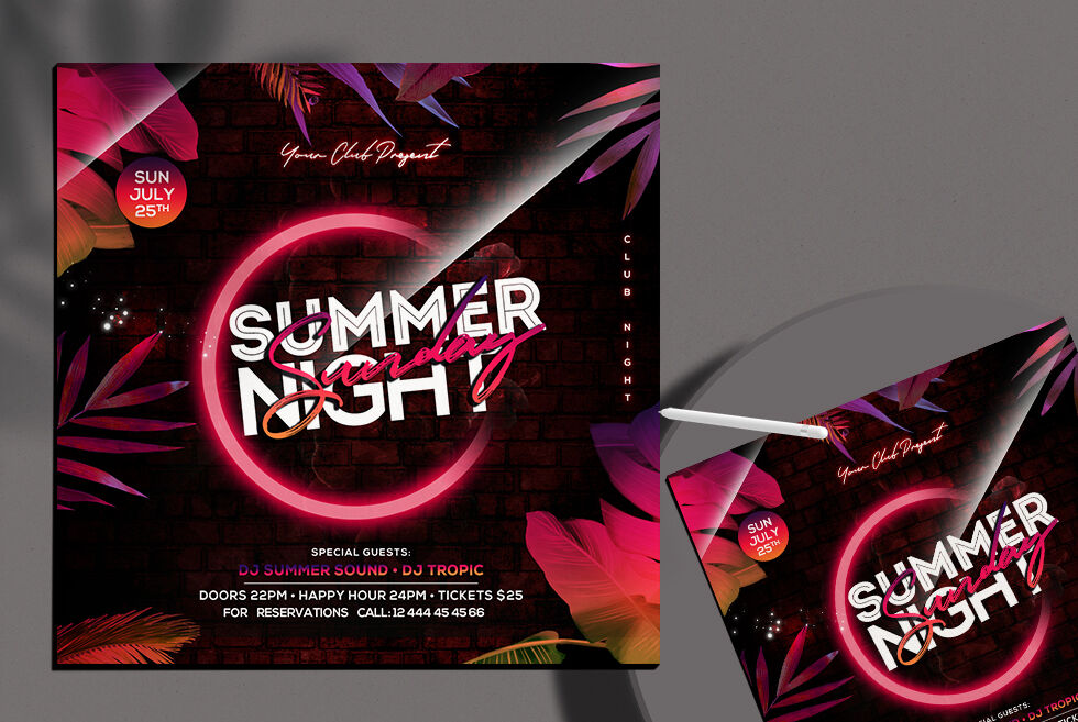 Summer Glow Party Free Instagram Banner Template (PSD)