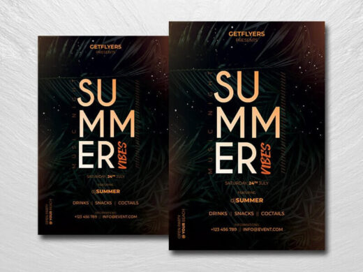 Summer Music Vibe Free Flyer Template (PSD)