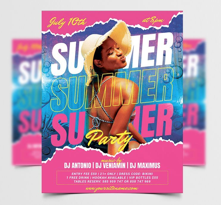 Summer Party Day Free Flyer Template (PSD)