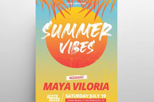 Sunset Tropical Party Free Flyer Template (PSD)