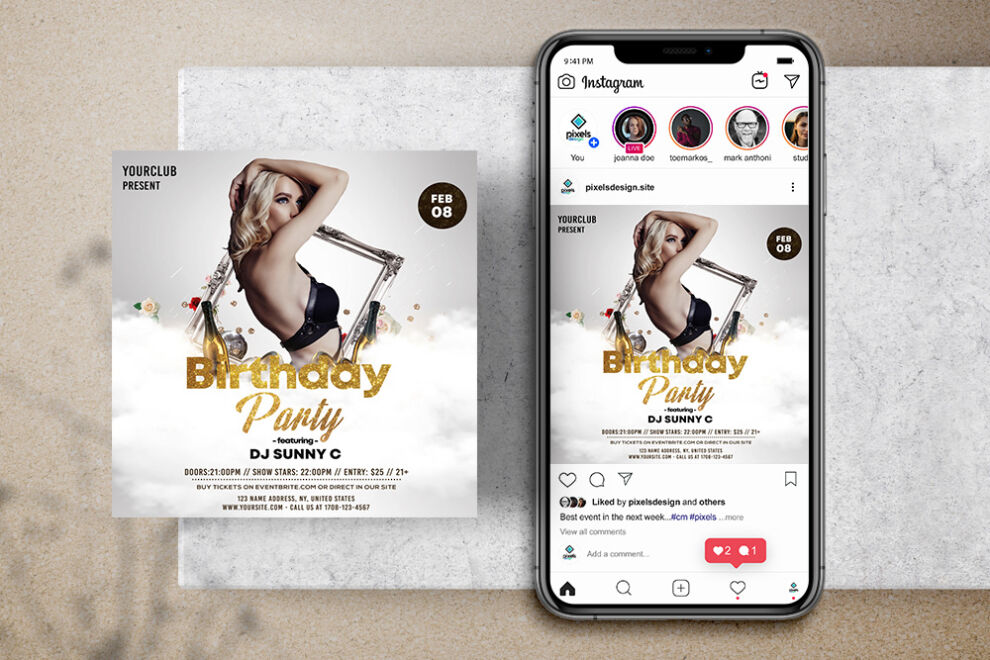 White Birthday Party Free Instagram Banner Template