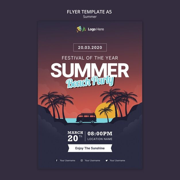 Summer Vacation Party Free Flyer Template (PSD)