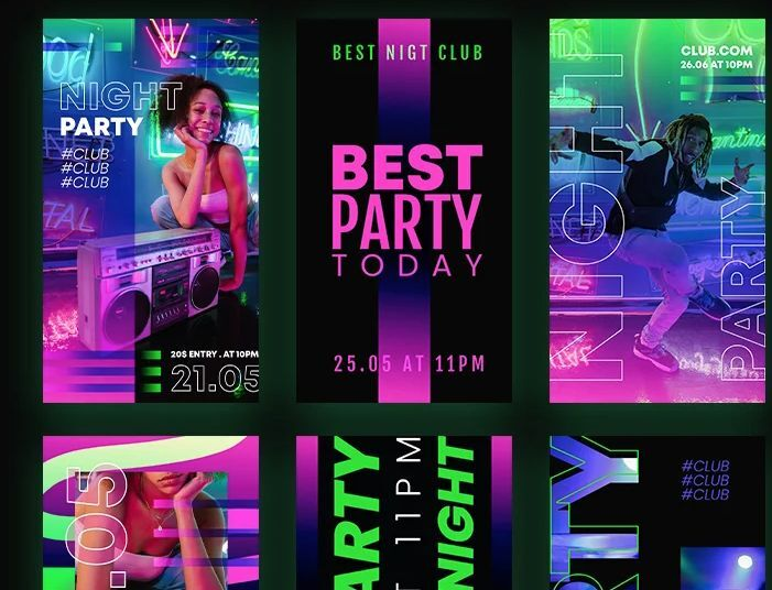 9 Free Club Party Instagram Stories Templates (PSD)