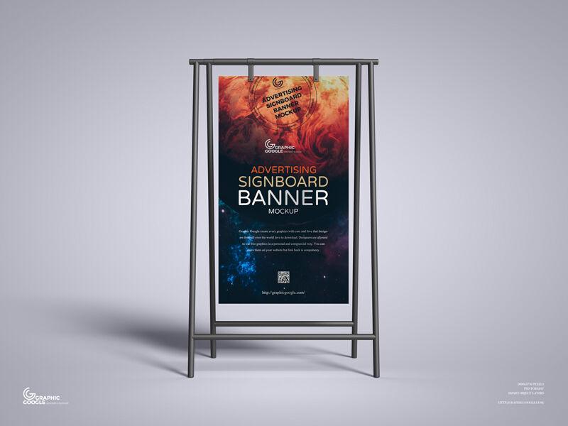 Advertising Signboard Banner Free Mockup