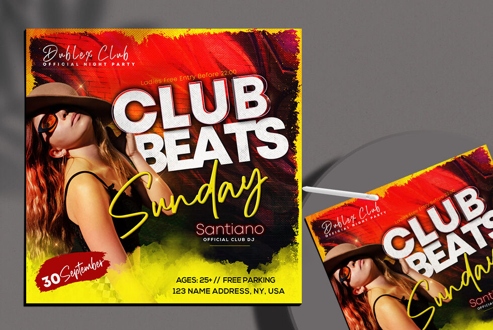 Club Beats Party Free Instagram Banner (PSD)
