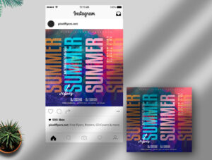 Colorful Summer Vibe Free Instagram Banner (PSD)