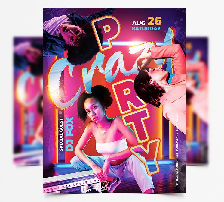 Crazy Party DJ Free Flyer Template (PSD)