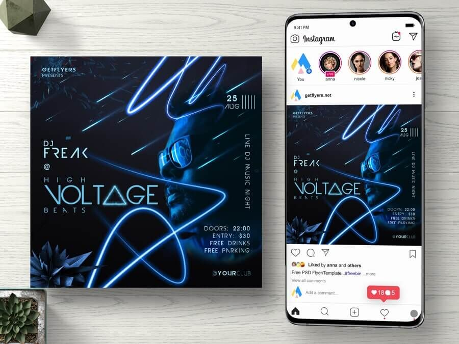 DJ Beat Party Free Instagram Banner Template