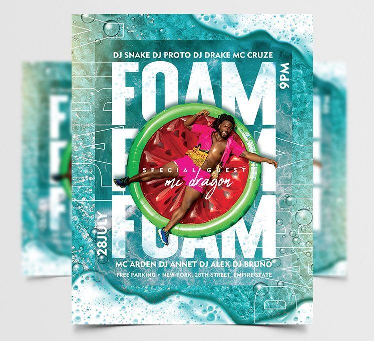 Foam Fun Party Free Flyer Template (PSD)