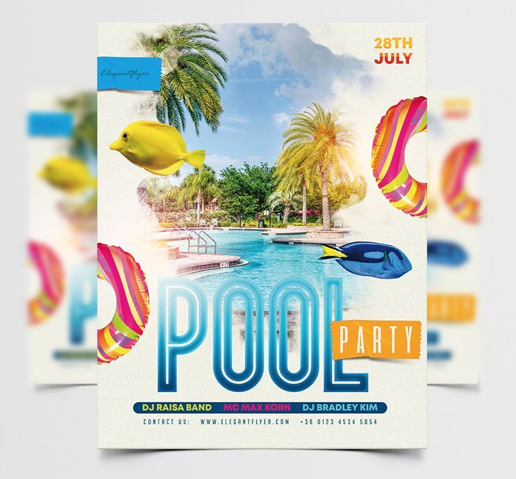 Free Pool Party Summer Flyer Template (PSD)