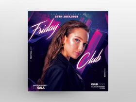 Friday Party Girls Free Flyer Template (PSD)