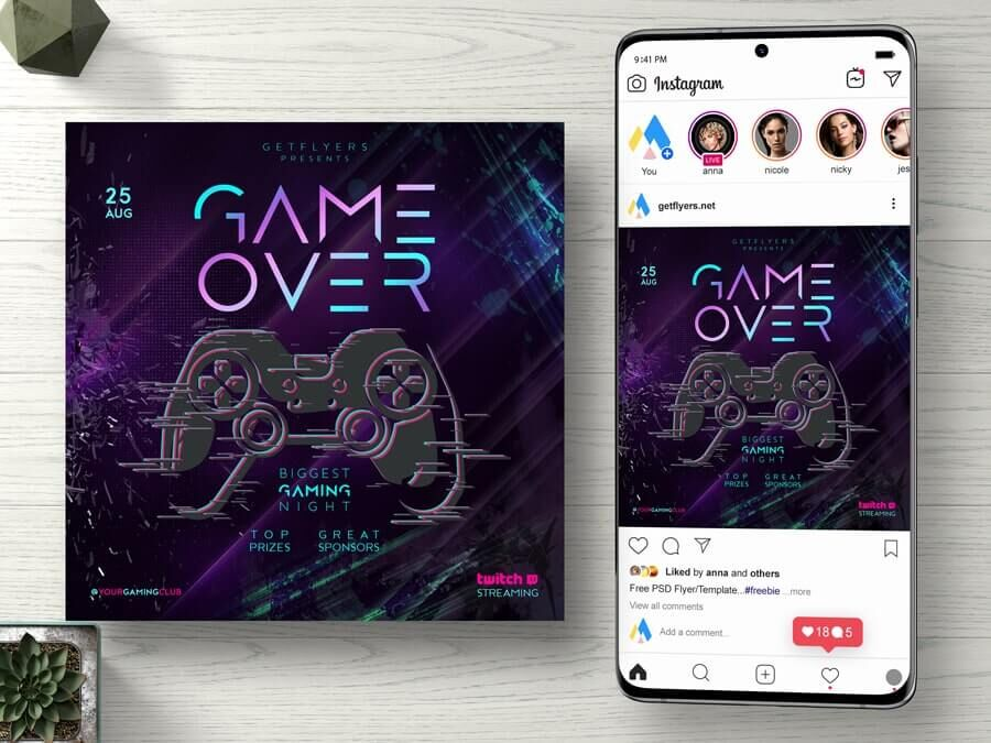 Game Night Event Free Instagram Banner (PSD)