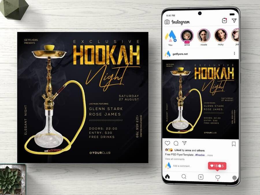 Hookah Night Free Instagram Banner Template