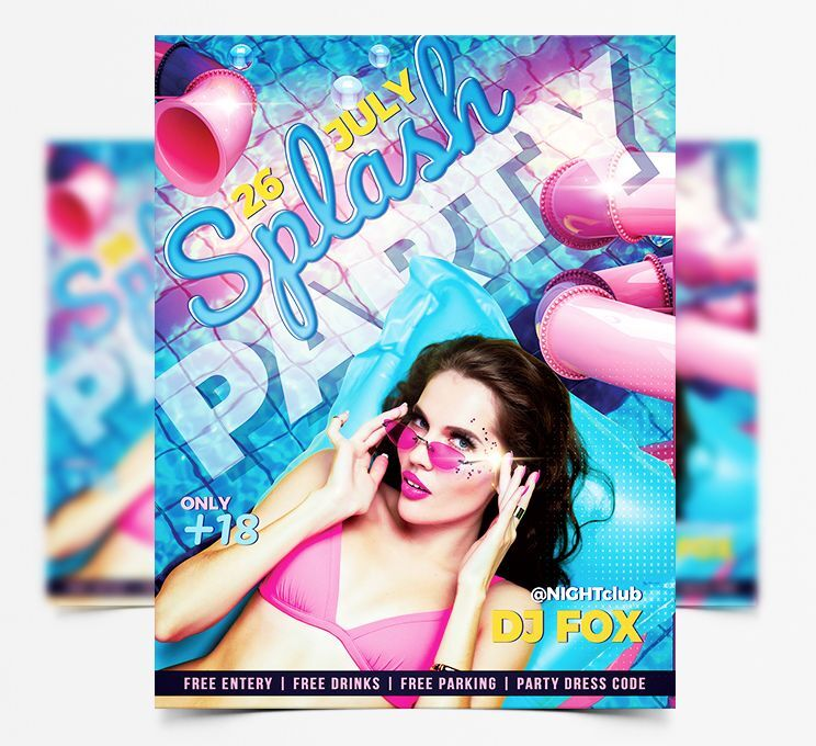Pool Party Day Free Flyer Template (PSD)