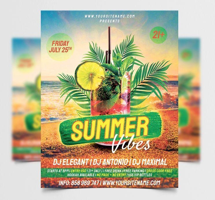 Summer Beach Vibes Free Flyer Template (PSD)