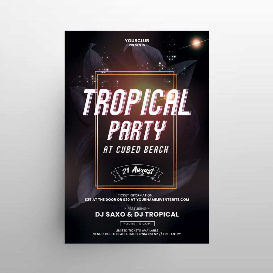 Summer Tropical Invitation Free Flyer Template (PSD)