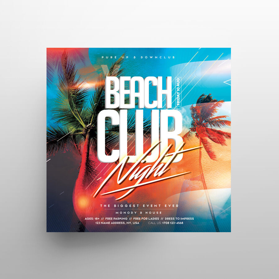 Tropical Beach Party Free Flyer Template (PSD)
