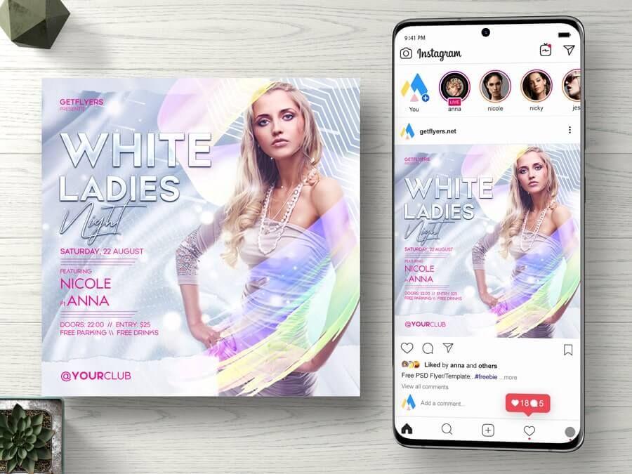 White Elegant Party Free Instagram Banner Template