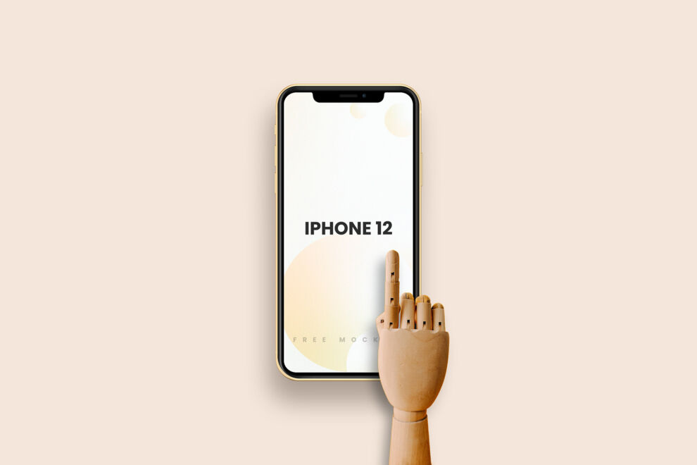 iPhone 12 with Wooden Hand Free Mockup