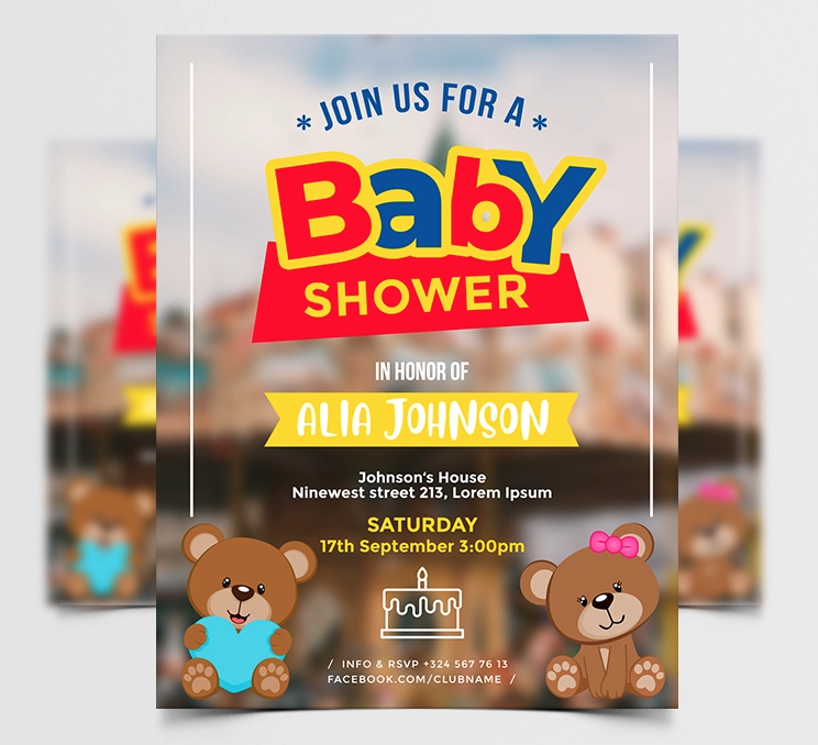 Baby Shower Party Free Flyer Template (PSD)