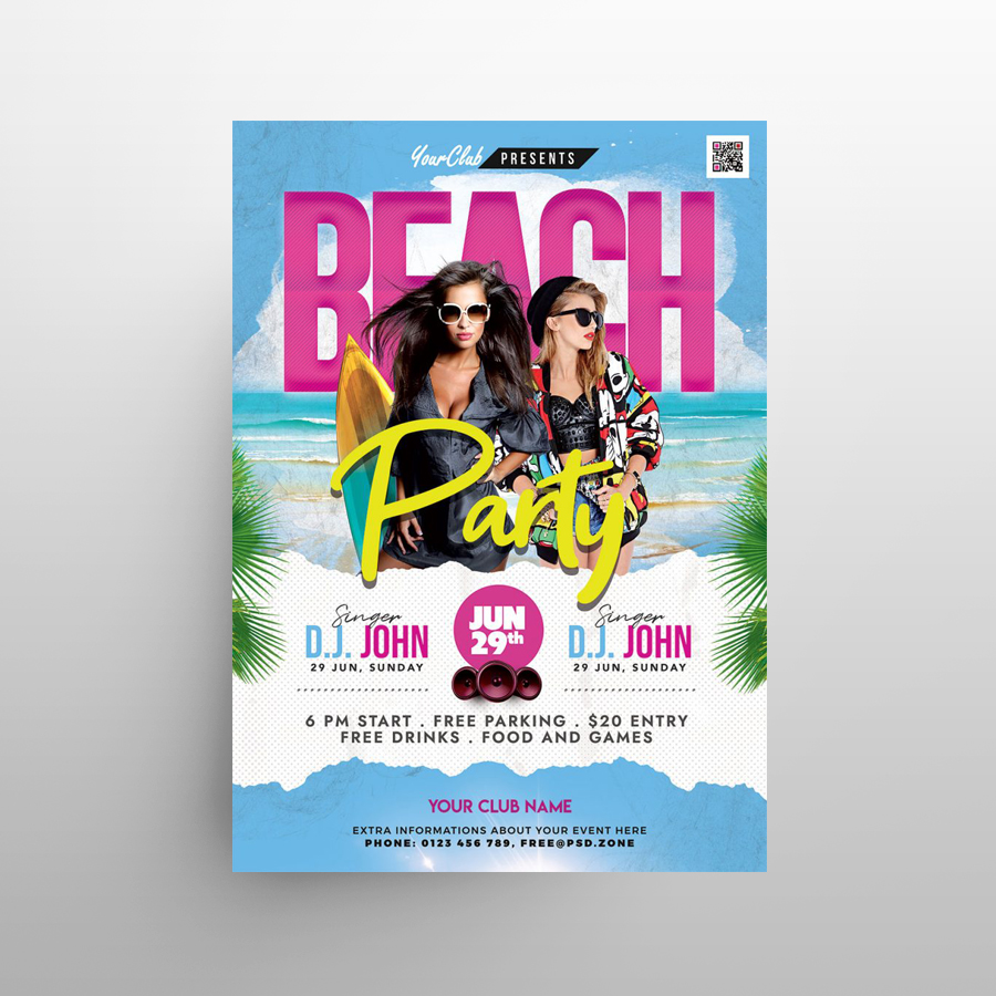 Beach Party Day Free Flyer Template (PSD)