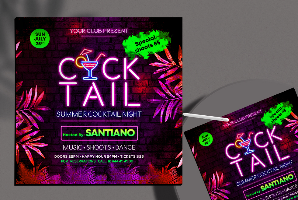 Cocktail Party Night Free Instagram Banner (PSD)