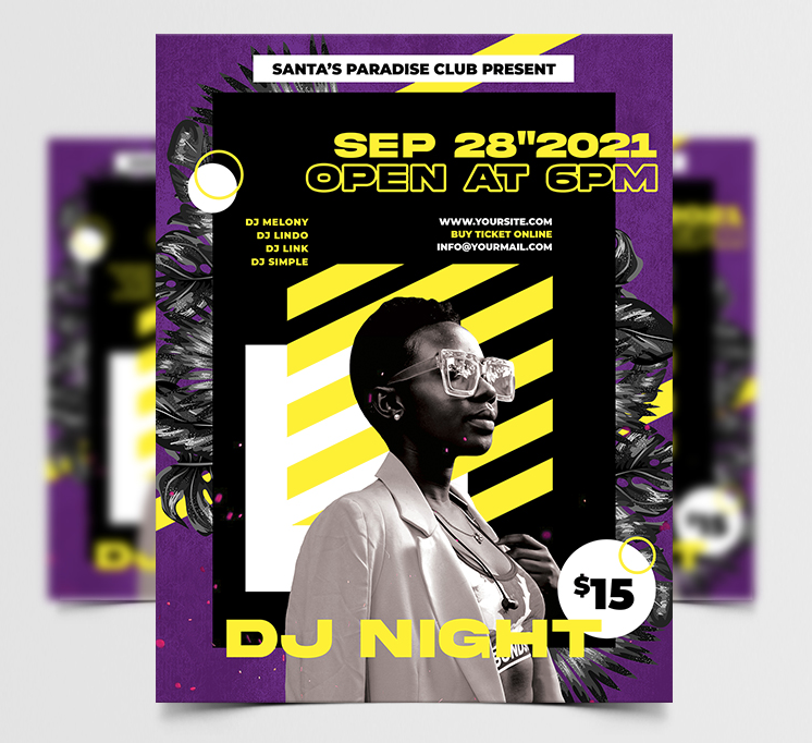 DJ Night Music Free Flyer Template (PSD)