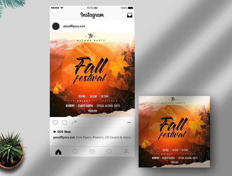 Fall Festival 2021 Free Instagram Post Template (PSD)