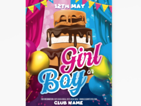Gender Reveal Party Free Flyer Template (PSD)