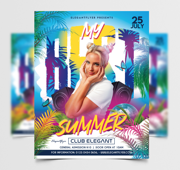 It's Summer Party Free Flyer Template (PSD)