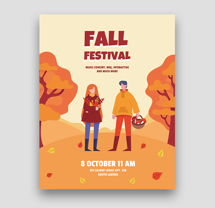 Minimalist Fall Festival Free Flyer Template (PSD)