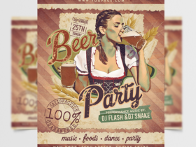 October Beer Party Free Flyer Template (PSD)