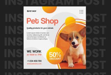 Pet Shop Free Instagram Post Template (PSD)