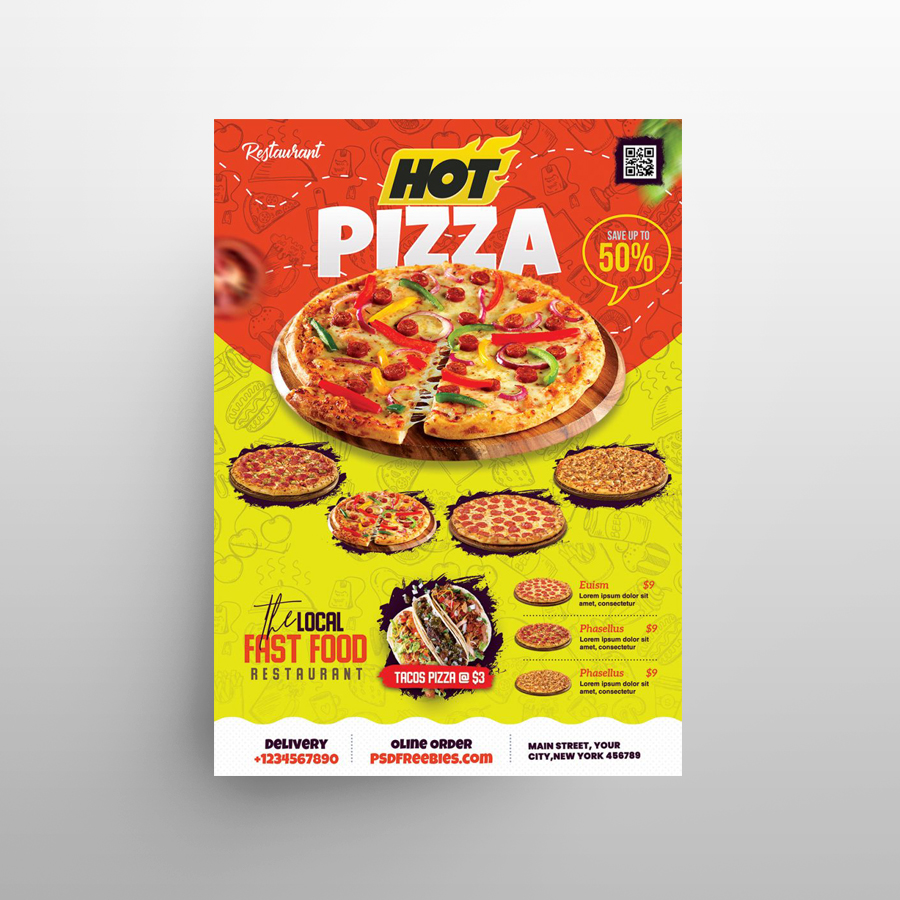 Pizza Food Ad Free Flyer Template (PSD)