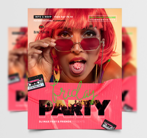 R&B Retro Party Free Flyer Template (PSD)