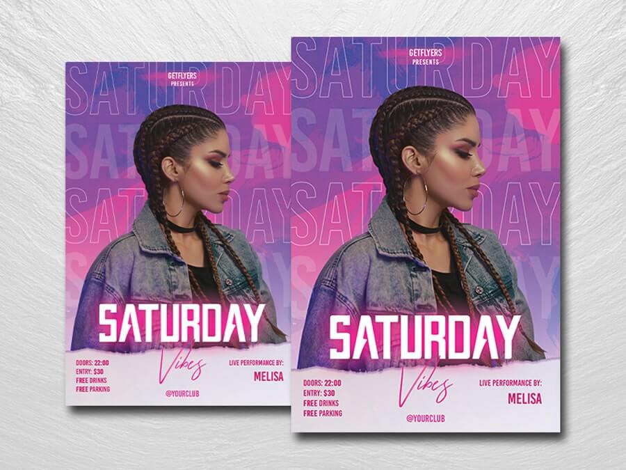 Saturday Party Night Free Flyer Template (PSD)