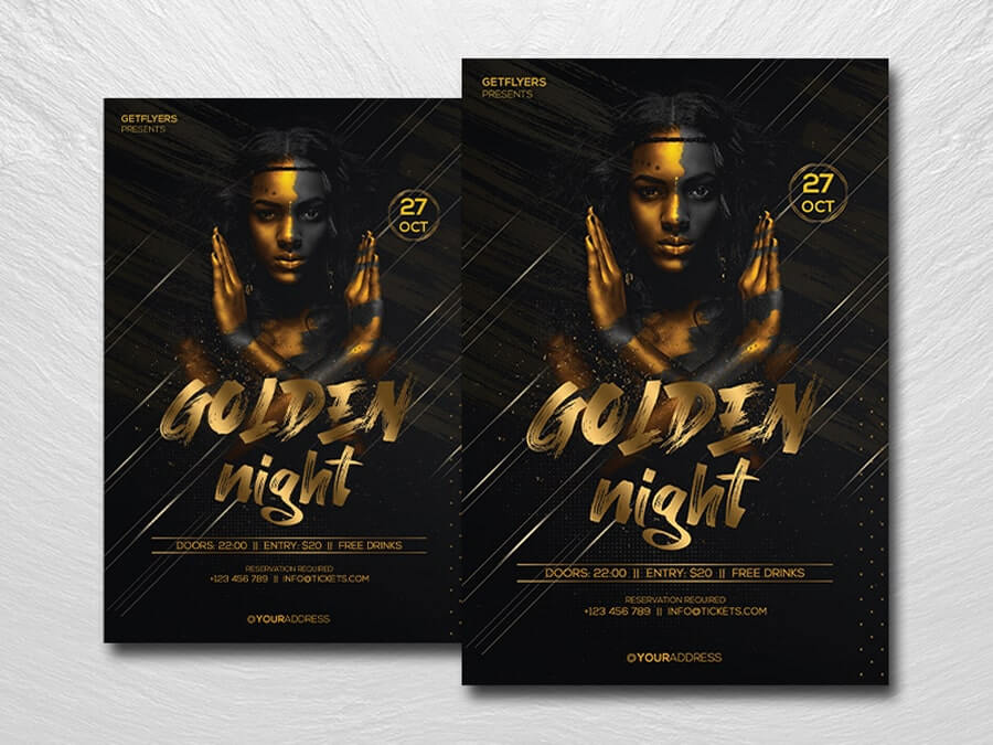 The Golden Party Free Flyer Template (PSD)