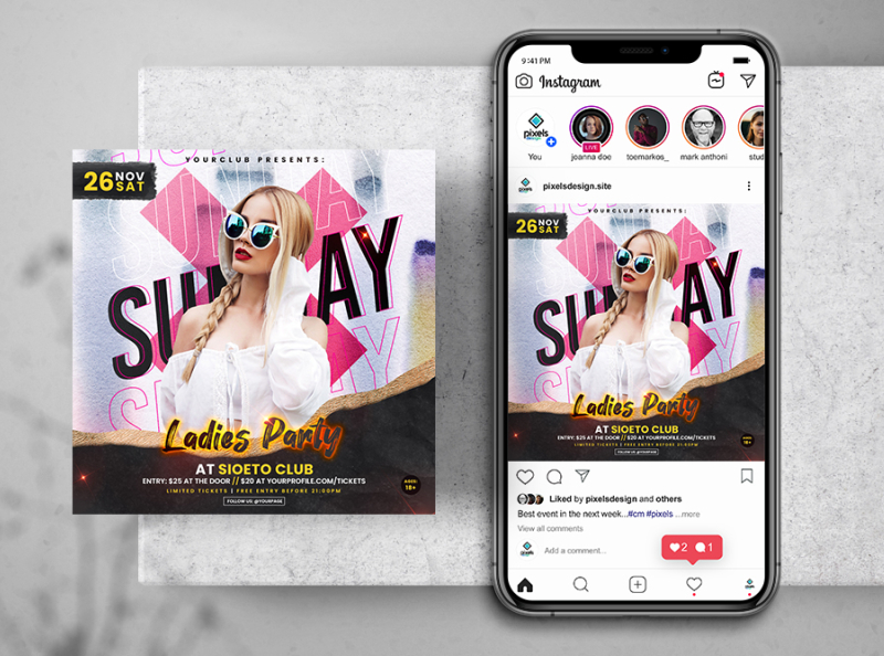 Urban Ladies Party Free Instagram Post Template (PSD)